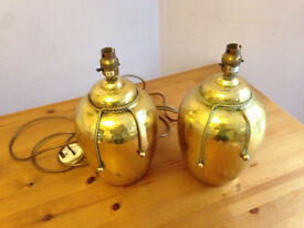 Set of Two Vintage Brass Table Bedside Lamps / Hammered Dull Finish