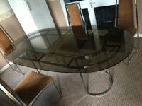John Lewis 1970/80s Smoked Glass Dining Table & 4 Corduroy Padded Chairs with Square Chrome Bottom