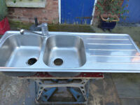 Stainless Steel Double Bowl Kitchen Sink with Drainer and Mixer Tap