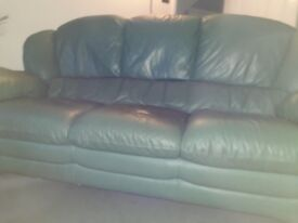 Large 3 seater leather sofa & footstool. Free for collection. Allestree