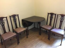 Antique style Queen Anne dining table & chairs