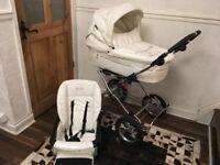 PRESTIGE BABY STYLE CREAM LEATHER PRAM / PUSHCHAIR
