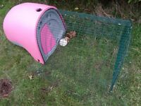 Pink Omlet Eglu Classic with 1 metre run for guinea pigs, bantam chickens. Hutch