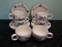 Royal Doulton Blueberry Everyday Cups and Saucer Set