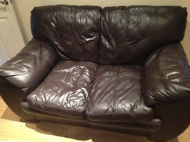2x 2 seater dfs brown sofas