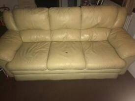 3piece cream leather suite