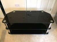 "Black glass TV stand for up to 55"" TV"