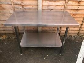 Solid kitchen bbq stainless steel catering table 120 x 66.5xm