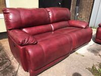 HARVEYS GUVNOR REAL LEATHER ELETRIC POWER RECLINER 3 AND 2 SEATER SOFA SET THREE PLUS TWO ARMCHAIR