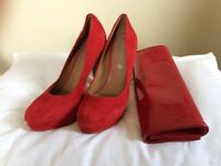 Aldo Red Heels with matching Clutch