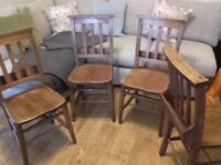 Dining chairs, old church chairs