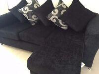 Small grey and black corner sofa, hardly used