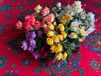 Large box of fake flowers.