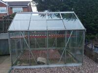 Aluminium framed glass greenhouse 8ft x 6ft