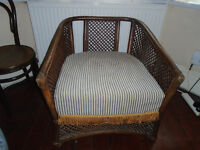 Wicker Cane Sofa and Chair