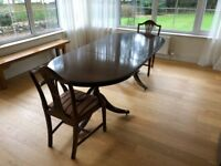 Mahogany Style Extendable Dining Table & 2x Chairs