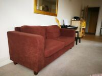 2 and 3 seater sofa set in brown, IKEA style sofa ideal for a bedroom or living room