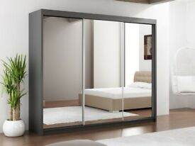 BRAND NEW FURNITURE-3 SLIDING DOORS MIRRORED LUX WARDROBE 250CM -order now