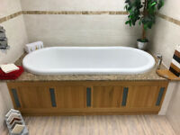 Imperial Linea Bath Front Panel with Frosted Glass Inserts & Waveney Bath