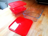 3 French Pyrex containers - barely used