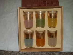 6 retro frosted drinking glasses