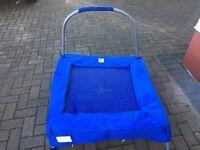 Childrens trampoline with safety bar