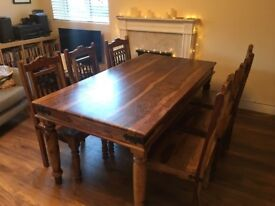 Solid hardwood table + 6 chairs