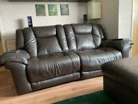 Brown Faux Leather Reclining 3 Piece Sofa Set + Pouffe