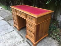 ANTIQUE STYLE SOLID PINE WOOD DESK RED LEATHER WRITING TOP