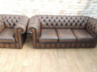 Chesterfield Club Sofa + Chair (Delivery)