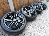"16"" VAUXHALL CORSA C / D ALLOY WHEELS NEW TYRES *REFURBED* GLOSS BLACK 4x100 sri sxi"