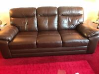 Lovely brown leather sofa 3seater arm chair and storage box