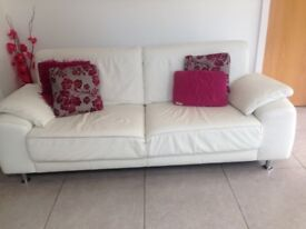 White Italian Leather 3 seater sofa