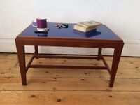 Mid Century Teak / Afromosia Coffee Table with Blue Perspex Top