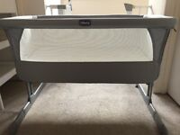 Chicco next to me baby crib- grey/ circles design- immaculate condition, like new