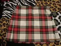 WHITE TARTAN MINI SKIRT KILT BY BROADBANK AND EMPSON SIZE 12/14 GREAT FOR FANCY DRESS