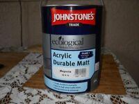 JOHNSTONES ACRYLIC DURABLE MATT 5LT MAGNOLIA PAINT NEW
