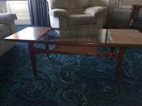 G PLAN TEAK COFFEE TABLE WITH GLASS INSERT AND MAGAZINE SHELF