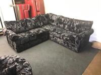 Black navy Luxury thick Crushed Velvet 4-5 seater L shape corner sofa full formal back swivel chair
