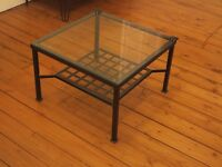Living room square coffee table (2ft x 2ft), glass and iron, vintage
