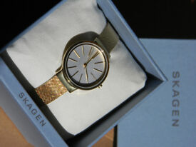AUTHENTIC SKAGEN ANCHER gold metal mesh watch (RRP £165)