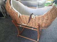 Baby Moses basket with rocking stand