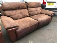 Brown suede and leather recliner 2 seater and recliner chair.