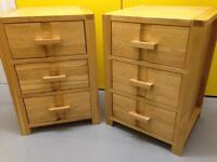 Pair solid oak bedside cabinet's Monterey range John Lewis chest of drawers furniture Sutton