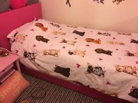 Girls hot pink ottoman single bed frame