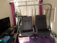 Ideal for drawing room , garden . For 2 ADULT person . Nearly new swing with suport head cover.