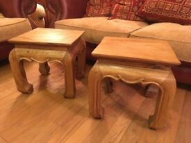Two matching side tables pair rustic real solid wood square sturdy small lamp or coffee table