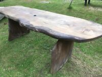 Large Solid Wood Garden Table (Complete Tree - No Joins)