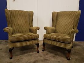 PARKER KNOLL WING CHAIR SET 2 x WINGBACK ARMCHAIRS FIRESIDE FABRIC CHAIRS DELIVERY AVAILABLE