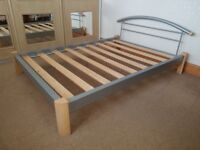 Wood and metal double bedstead